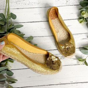 TORY BURCH   Gold Glitter Flower Sequin Flat Shoes